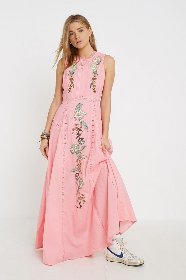 9fde6092f73b Violet Skye Pink Frill Maxi Dress | Urban Outfitters UK