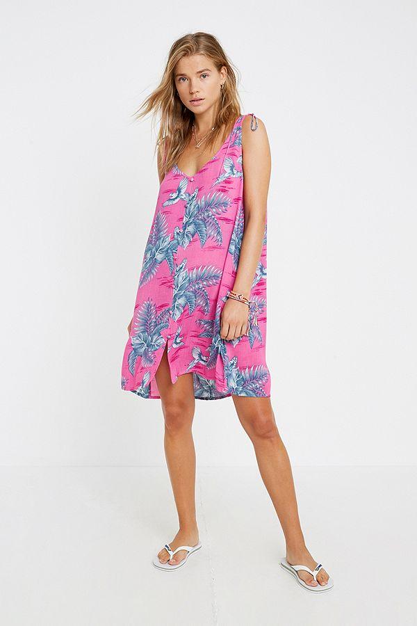 7edcaac51e9 Billabong Parrot Print Button-Through Slip Dress | Urban Outfitters UK