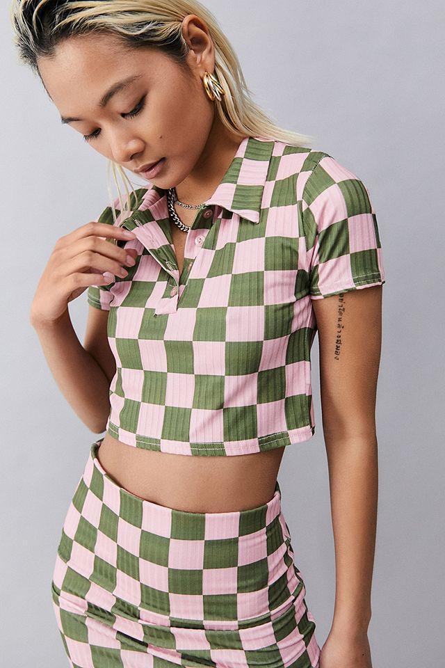 NEW girl ORDER Ribbed Pink & Green Check Polo Shirt