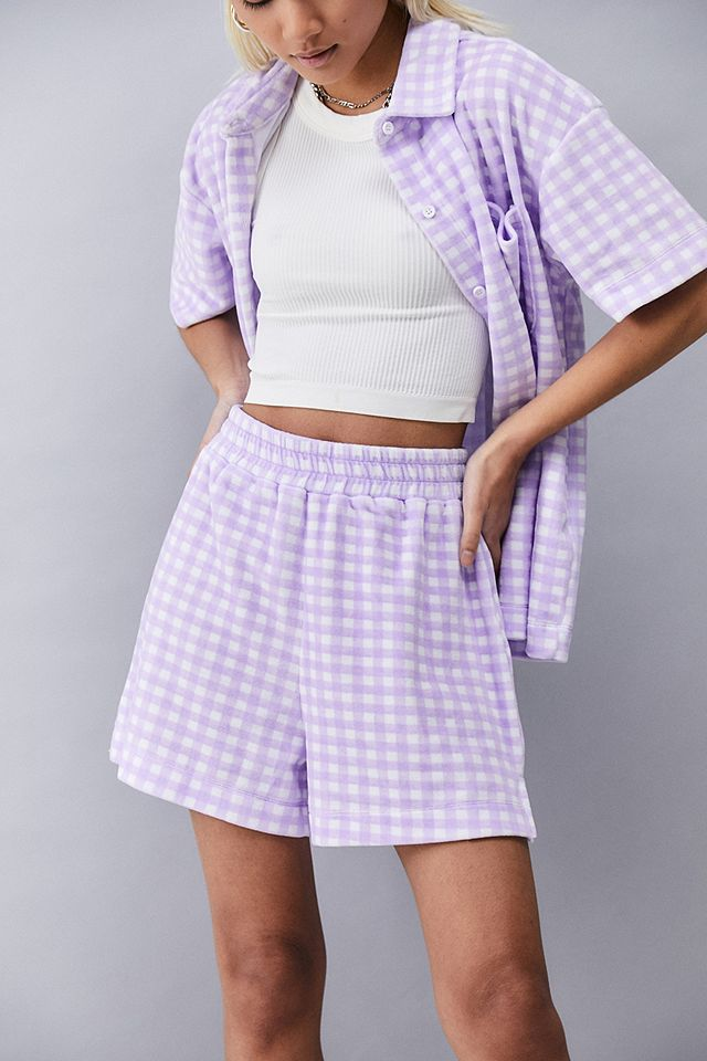 NEW girl ORDER Lilac Gingham Towelling Shorts £28.00