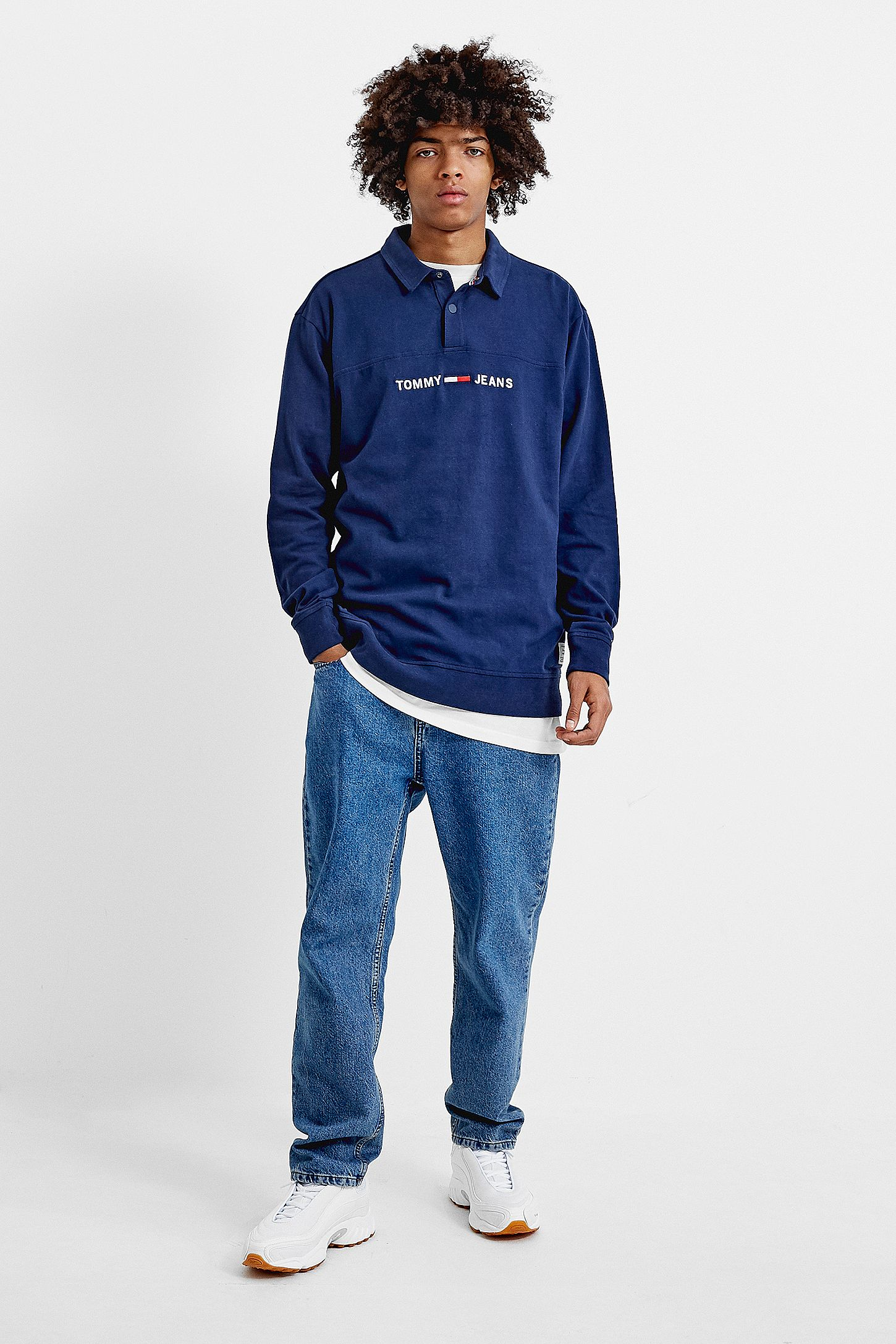 c2db0f32 Tommy Jeans Essential Navy Rugby Shirt | Urban Outfitters UK