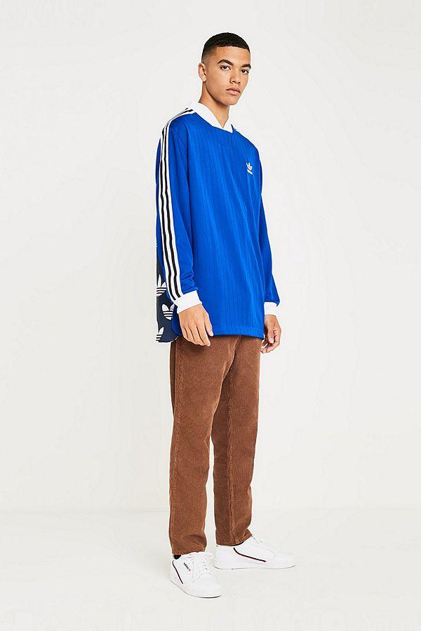 b74e61e86ad adidas B-Side 3-Stripe Blue Jersey T-Shirt   Urban Outfitters UK