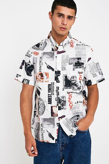 b4472121334ed HUF Headlines White Woven Short-Sleeve Shirt