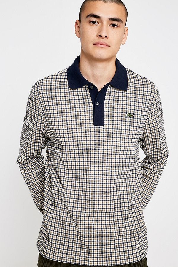 8f2928ec Lacoste LIVE Sand Checked Long-Sleeve Polo Shirt
