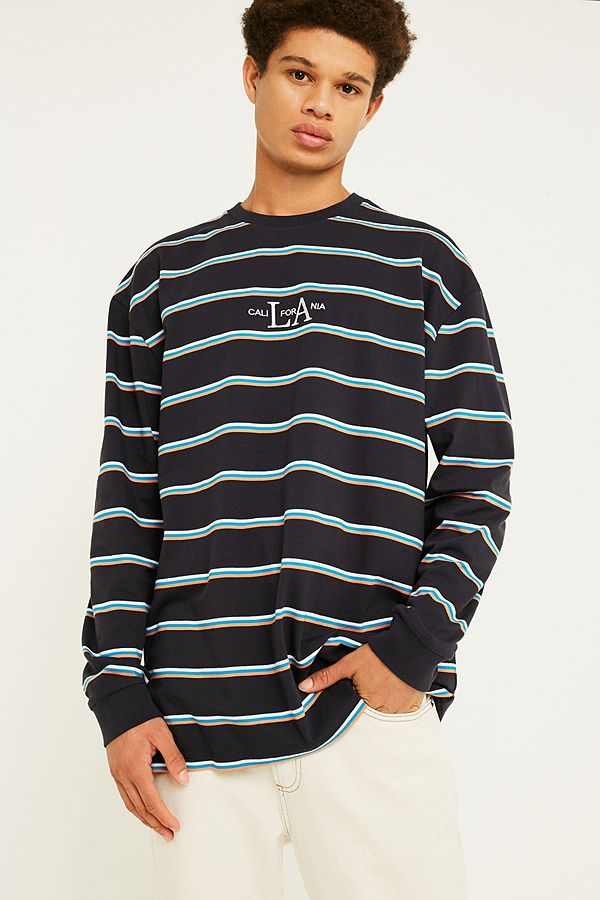 ccf7cec58d UO LA Striped Navy Long-Sleeve T-Shirt | Urban Outfitters UK