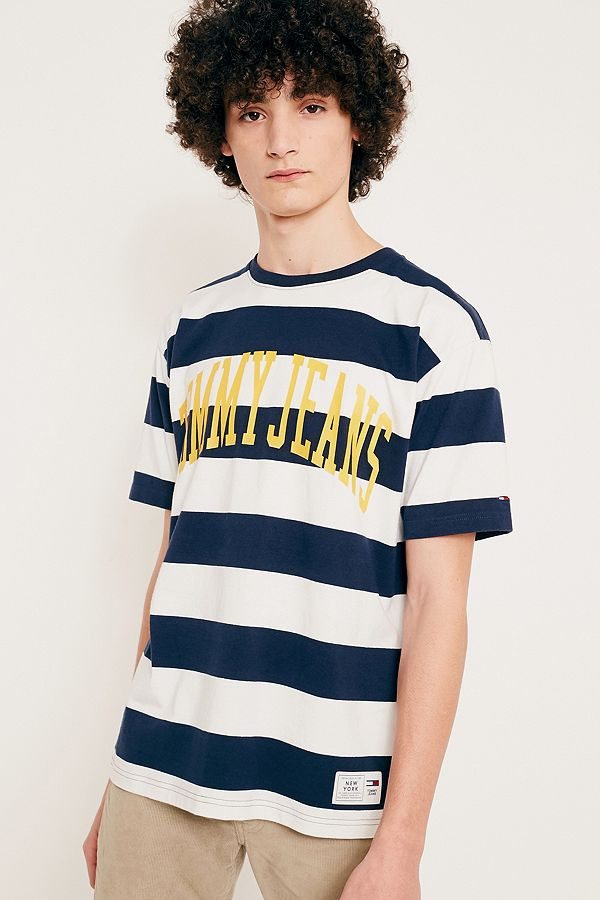 82b14cb442 Tommy Jeans Navy Striped Logo T-Shirt | Urban Outfitters UK