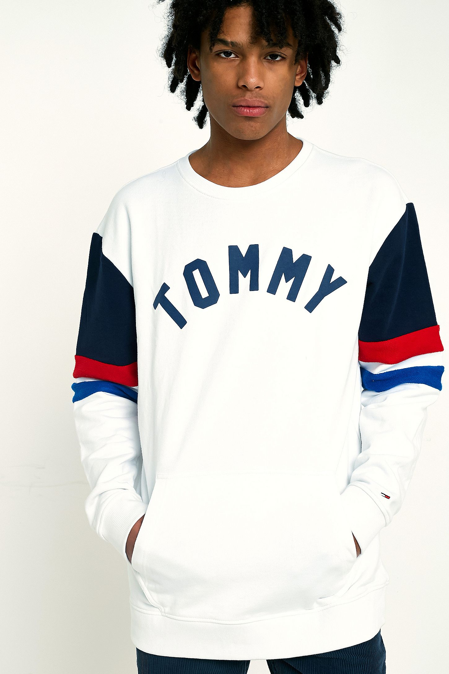 2ffb6a1c Tommy Jeans Colourblock White Crew Neck Sweatshirt | Urban Outfitters UK