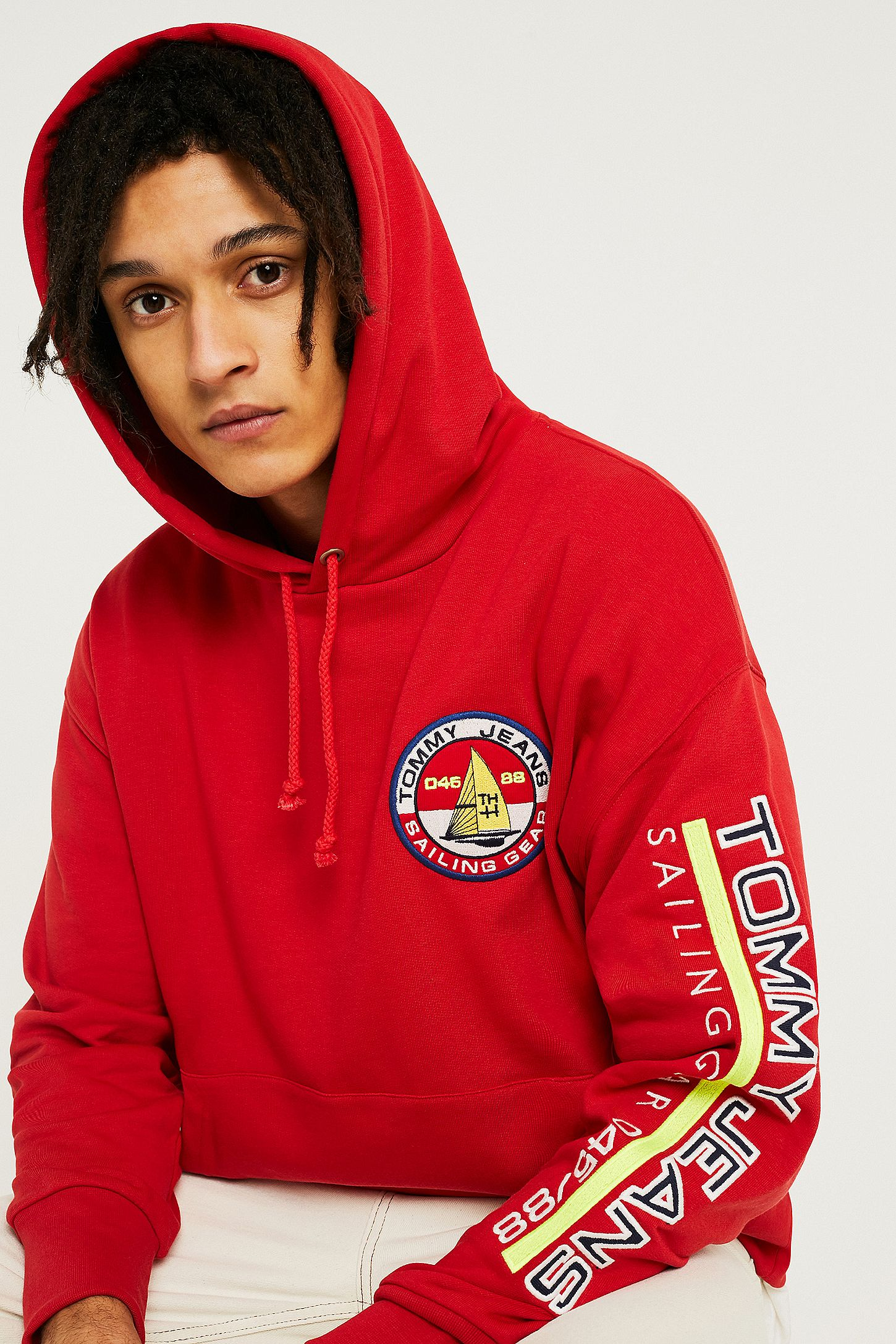 869b515d Tommy Jeans '90s Sailing Logo Red Hoodie. Click on image to zoom. Hover to  zoom. Double Tap to Zoom