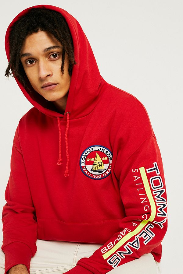 7570610ed97d Tommy Jeans '90s Sailing Logo Red Hoodie | Urban Outfitters UK