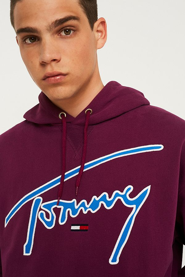 a6259b362 Tommy Jeans Signature Purple Hoodie | Urban Outfitters UK
