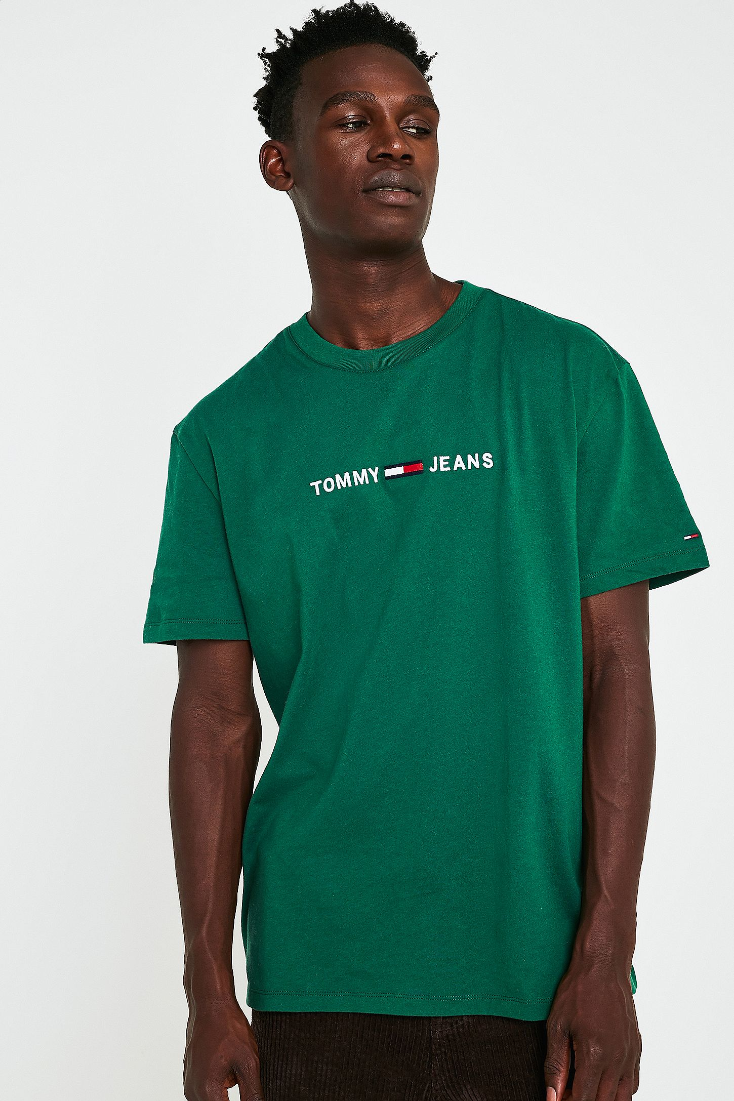 1c86049f Tommy Jeans Green Logo Text T-Shirt. Click on image to zoom. Hover to zoom.  Double Tap to Zoom