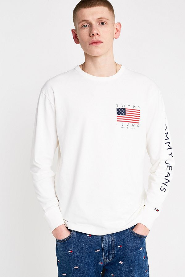 5c2043ee Tommy Jeans USA Flag Print Bright White Long-Sleeve T-Shirt | Urban ...