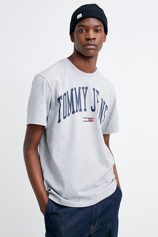 9917327c Tommy Jeans Collegiate Grey T-Shirt | Urban Outfitters UK