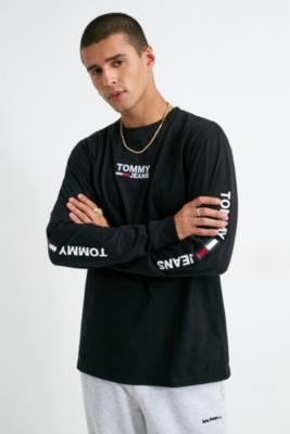 Tommy Jeans Black Corp Long Sleeve T Shirt by Tommy Jeans