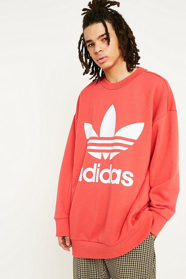 adidas Trefoil Logo Red Oversized Crew Neck Sweatshirt