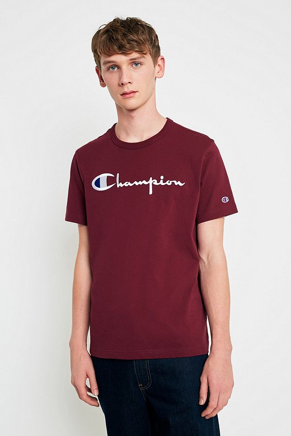 177f2a96a Champion Script Burgundy T-shirt | Urban Outfitters UK