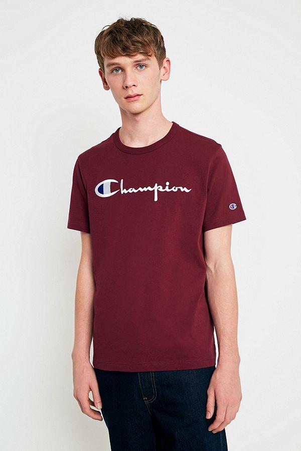59ff205b Champion Script Burgundy T-shirt | Urban Outfitters UK