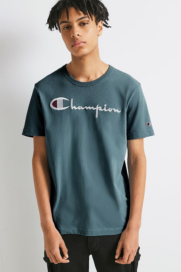fc1fccd2 Champion Script Teal Reverse Weave T-shirt | Urban Outfitters UK
