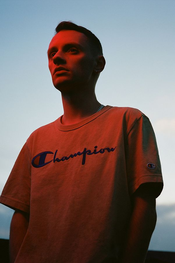 541ad0e0faa0 Champion X UO Brown Script Reverse Weave T-shirt | Urban Outfitters UK