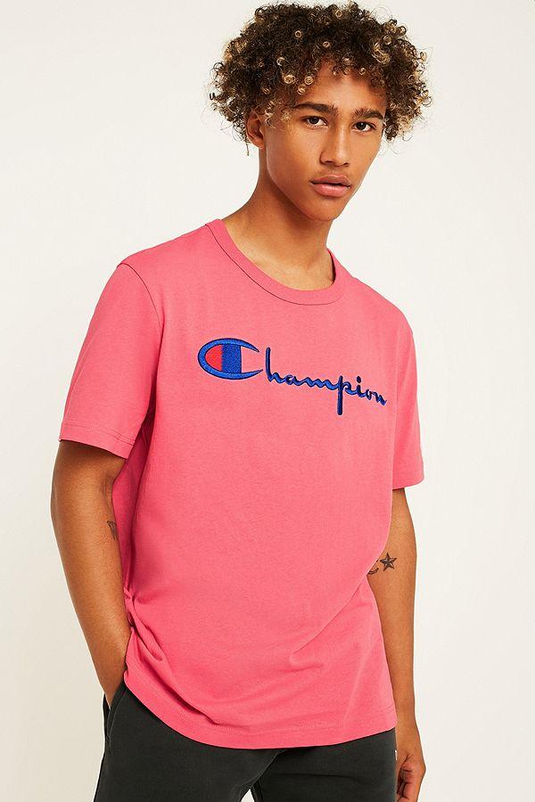 4de30a813 Champion Script Pink T-Shirt   Urban Outfitters UK