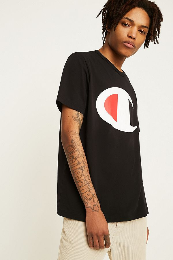 62b7924ca Champion Large C Logo Black T-Shirt | Urban Outfitters UK