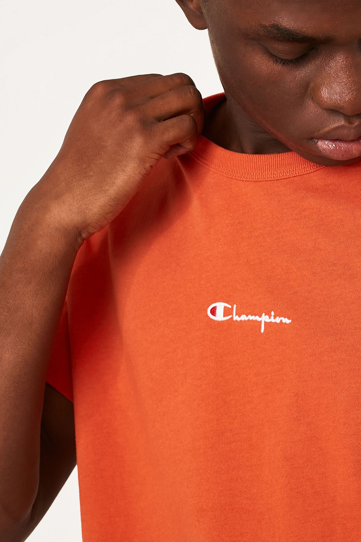 59addab01 Champion X UO Small Script Logo Burnt Orange Reverse Weave T-Shirt. Click  on image to zoom. Hover to zoom. Double Tap to Zoom