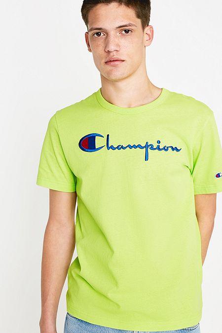 c9fae8b93736 Champion Large Script Fluorescent Yellow T-Shirt