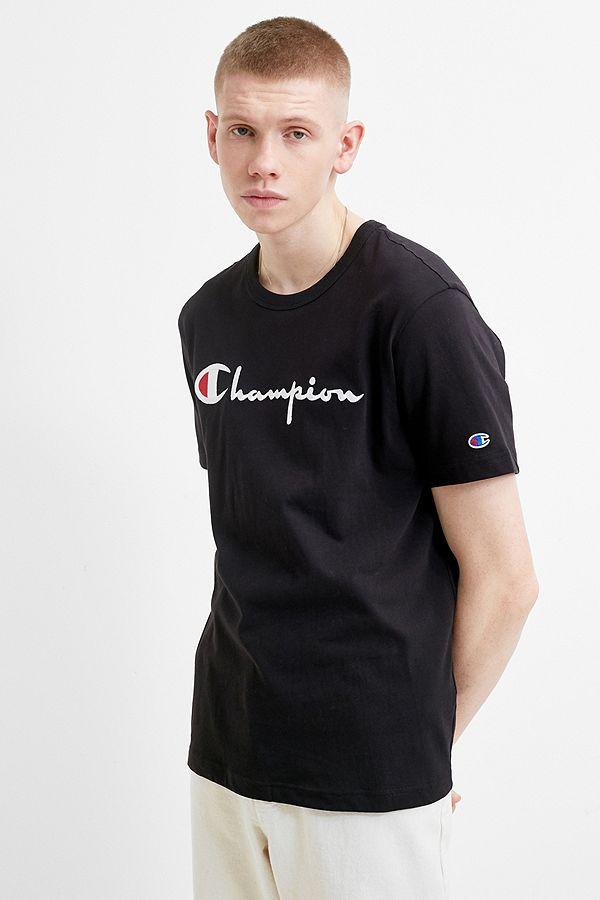 16e0d420238f Champion Large Script Black T-Shirt | Urban Outfitters UK