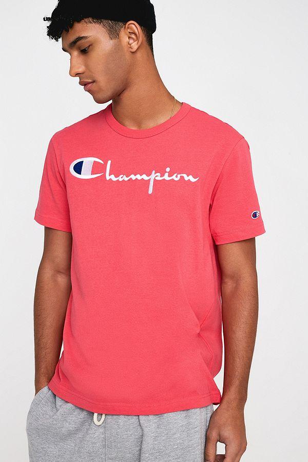 e75f3ddbf Champion Large Script Fuchsia Pink T-Shirt   Urban Outfitters UK