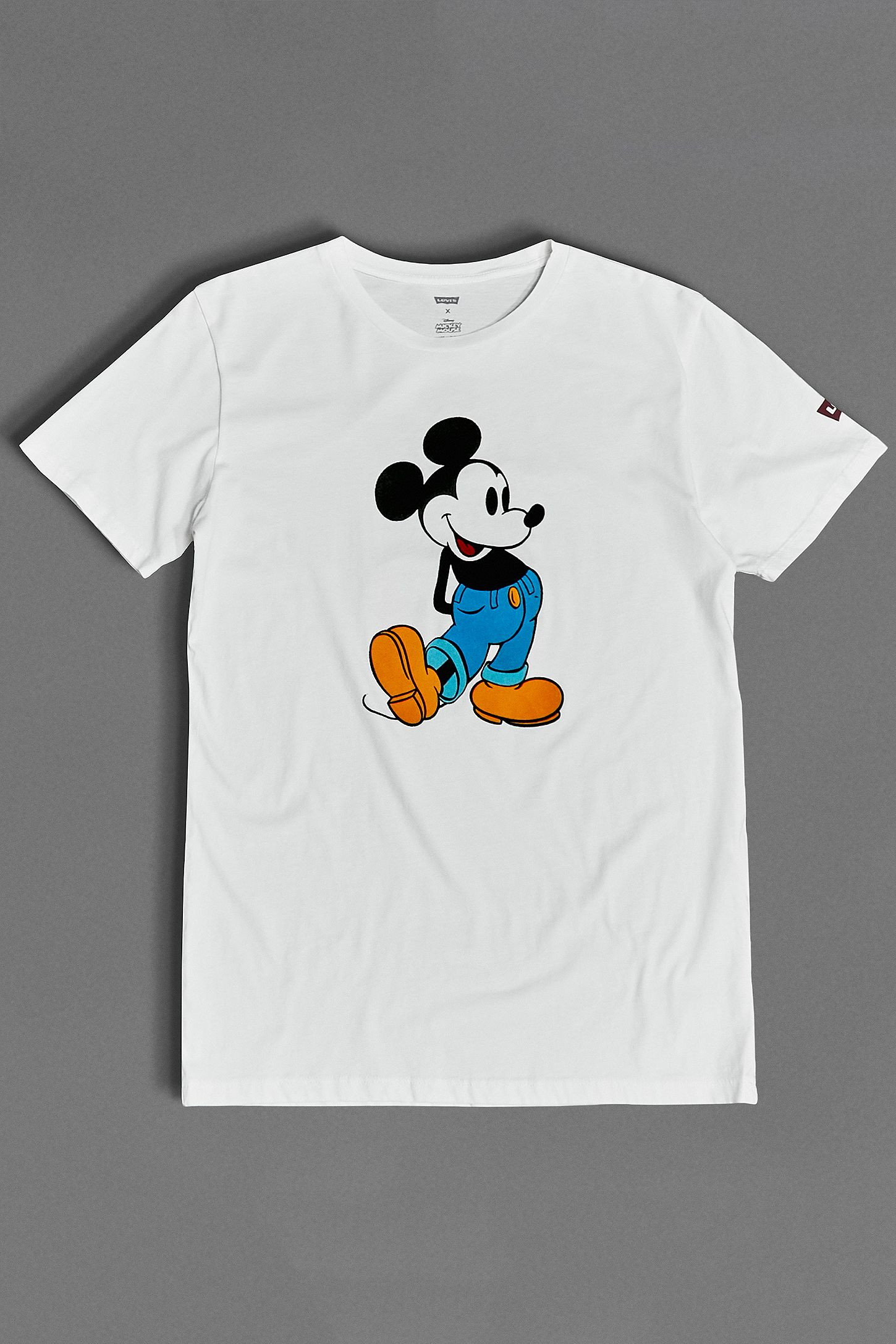 53476860b22d06 Levi's Mickey Mouse Flocked White T-Shirt. Click on image to zoom. Hover to  zoom. Double Tap to Zoom