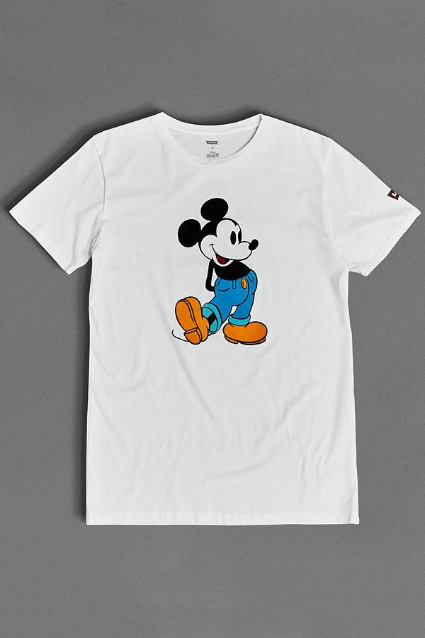fcc8fa2a2f65 Levi s Mickey Mouse Flocked White T-Shirt