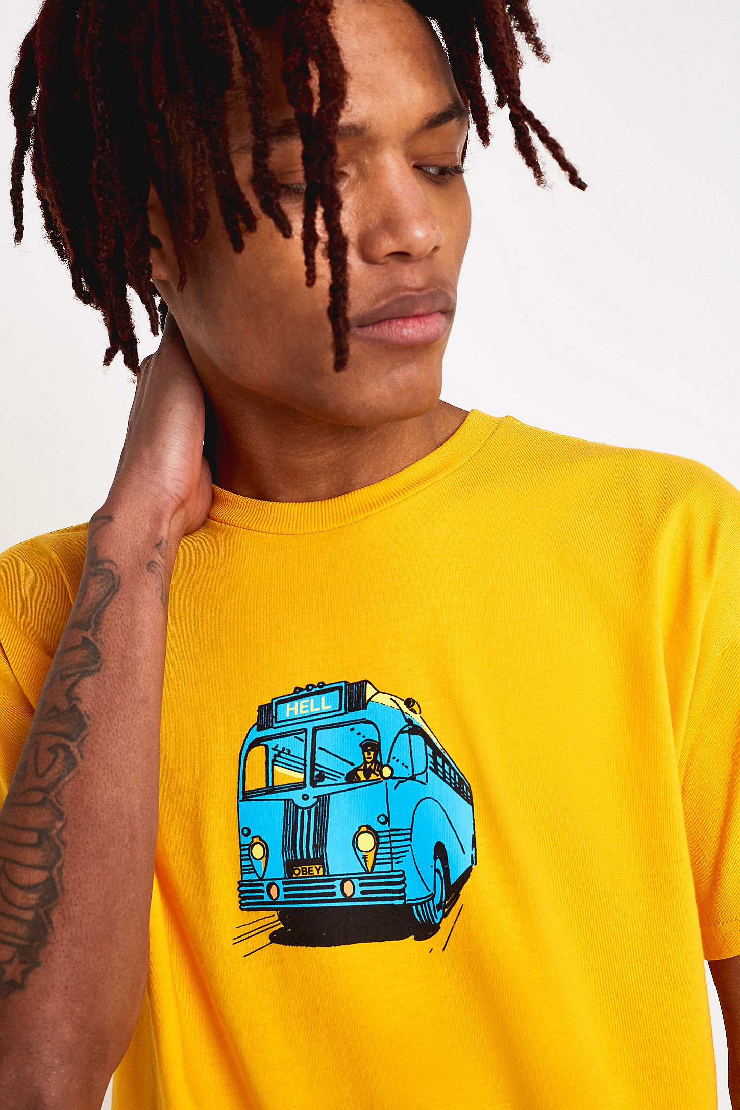 65774f6563dd4b OBEY Bus Yellow T-Shirt | Urban Outfitters UK