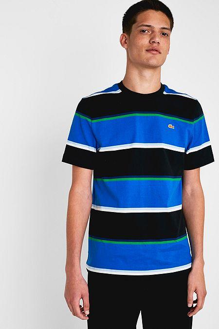 a57f1f14 Lacoste X Opening Ceremony Blue Colourblock Stripe T-Shirt