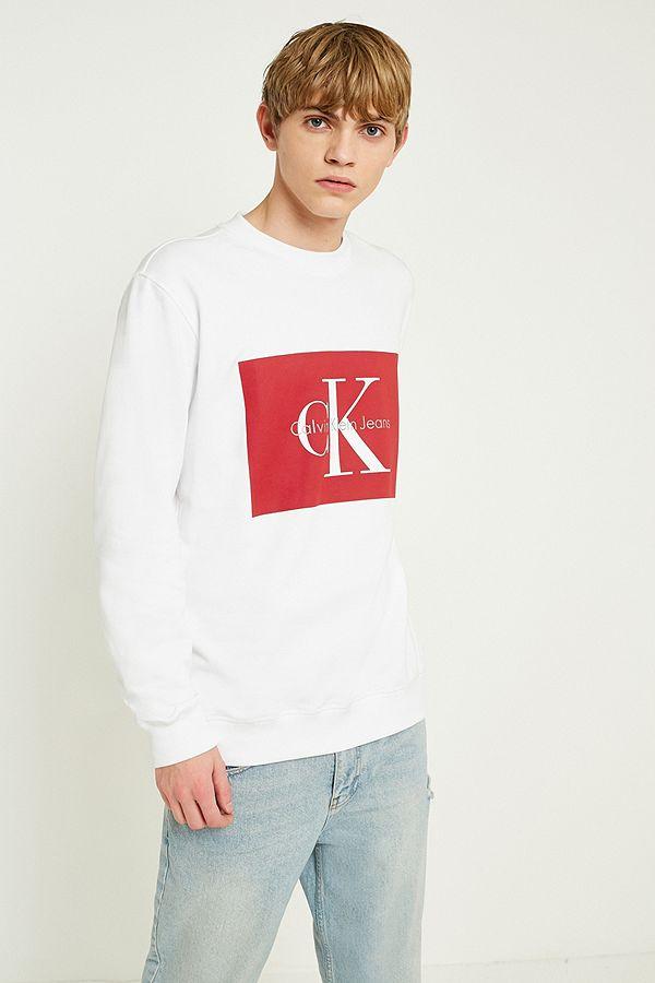 71b5a4ace25dd8 Calvin Klein Jeans White Logo Crew Neck Sweatshirt | Urban Outfitters UK