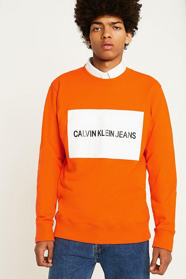 230ae5bb7671 Calvin Klein Jeans Institutional Box Logo Orange Sweatshirt