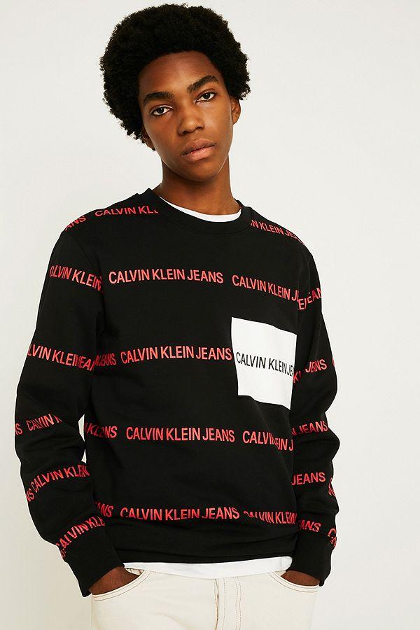 6cbf90829d3 Slide View  1  Calvin Klein Jeans Institution Allover Print Logo Crew Neck  Sweatshirt