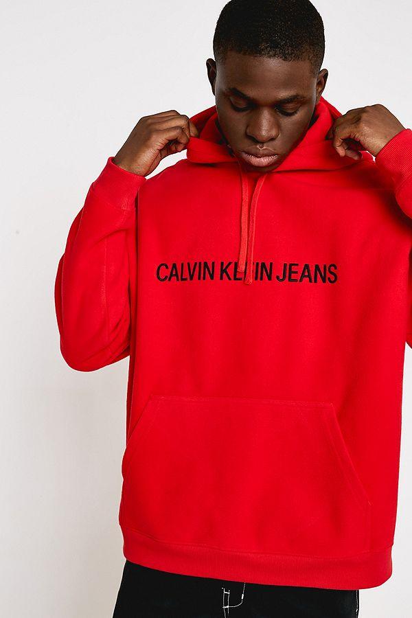 Promo-Codes außergewöhnliche Auswahl an Stilen zahlreich in der Vielfalt Calvin Klein Jeans Institutional Logo Red Fleece Hoodie
