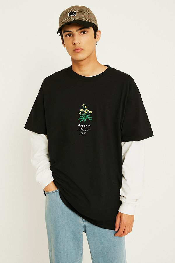 6bc4cf1e UO Forget About It Embroidered Black T-Shirt | Urban Outfitters UK