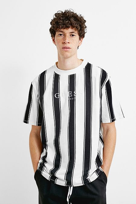 0320a990f91564 GUESS UO Exclusive Walden Black and White Stripe T-Shirt