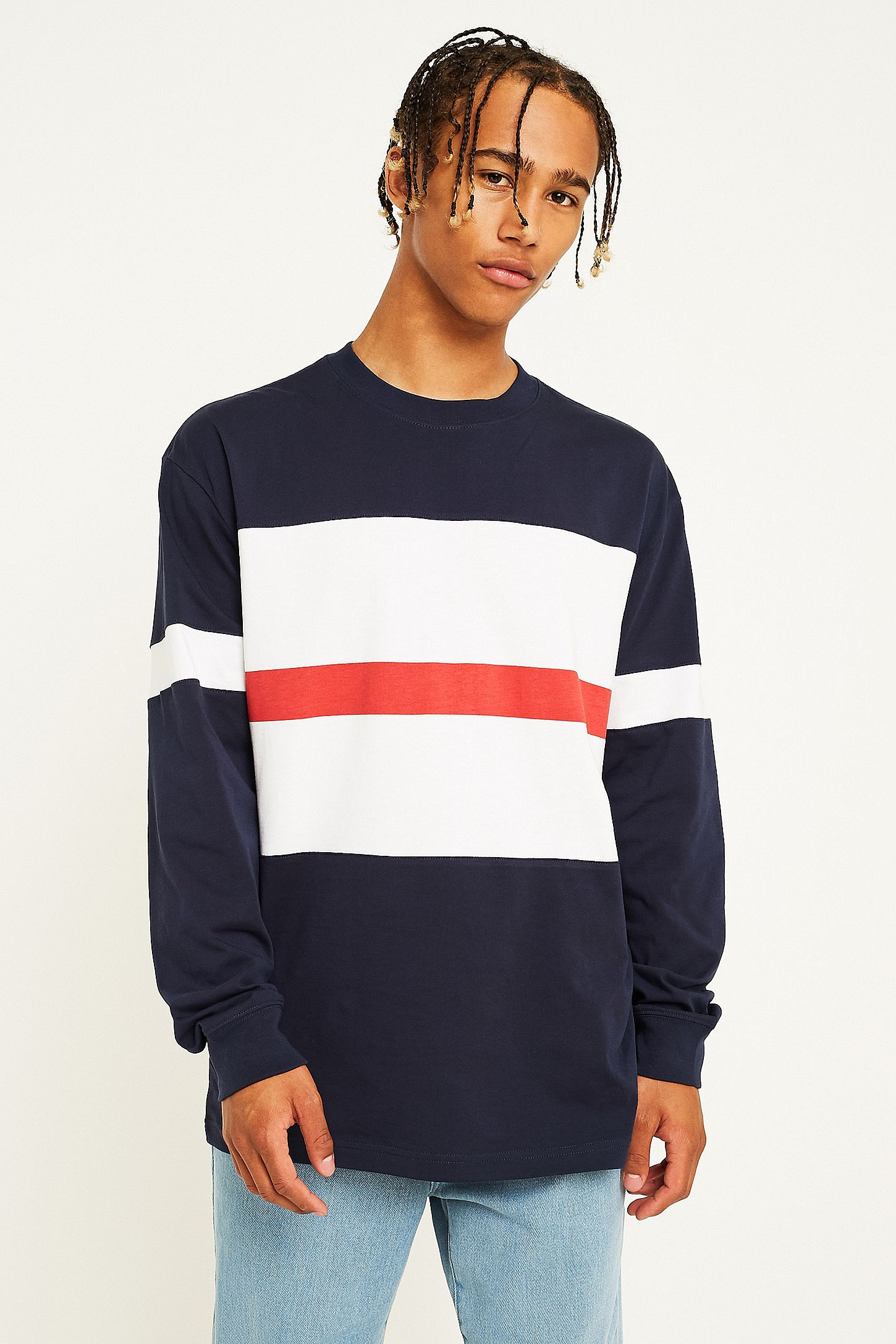 c49eee2c48 Orsman Bow Striped Navy Long-Sleeve T-Shirt | Urban Outfitters UK