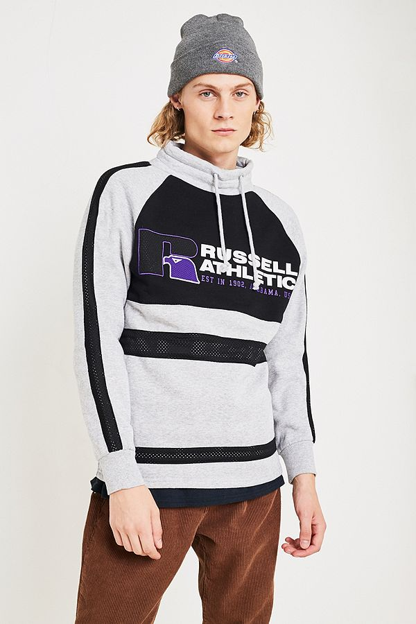 d32e816621fd4 Slide View  1  Russell Athletic Lewis Grey Funnel Neck Pullover Sweatshirt