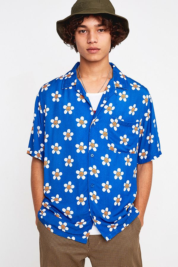 946a9e1f Lazy Oaf Happy Flowers Blue Short-Sleeve Shirt | Urban Outfitters UK