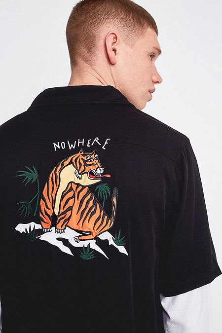 933950e656 Lazy Oaf Tiger Black Bowling Shirt