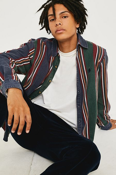 6fe3533c65 UO Retro Blue and Green Vertical Stripe Shirt