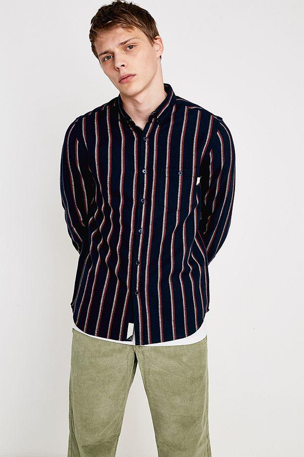 Shore Leave – Langärmliges Hemd im Streifendesign mit Fischgrätmuster