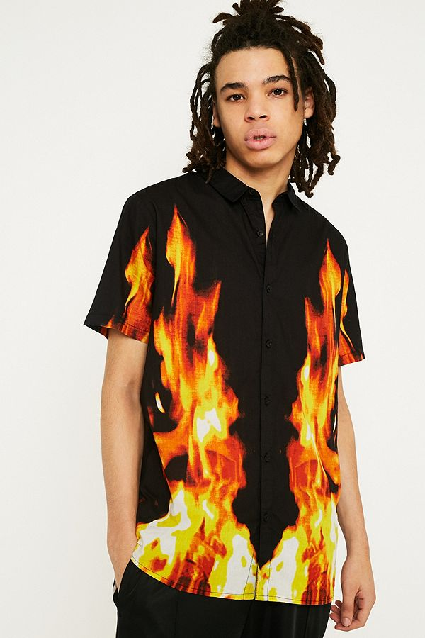 779be326 Rolla's Fire Print Short-Sleeve Shirt | Urban Outfitters UK