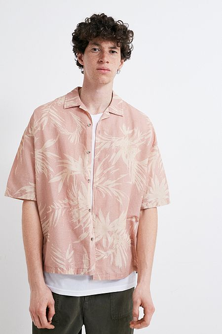110c2bb0ba UO Washed Pink Hawaiian Print Short-Sleeve Shirt