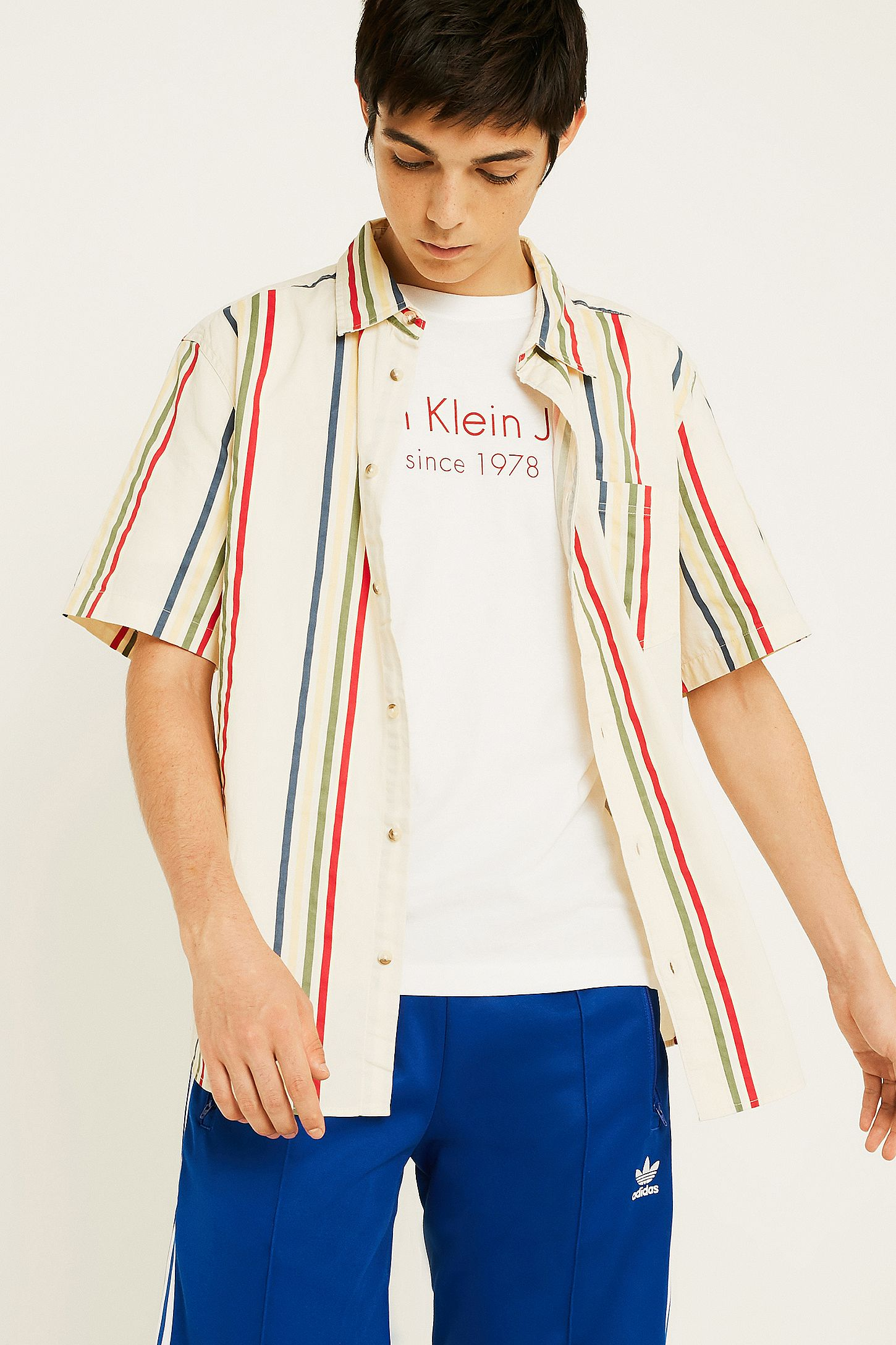 430a928b5 UO '90s Vertical Stripe Short Sleeve White Button-Down Shirt | Urban ...