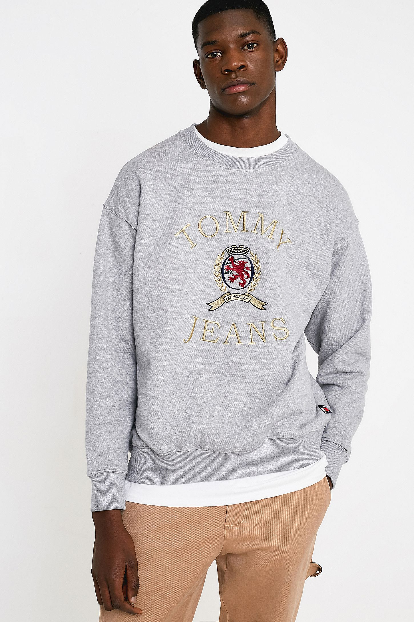 d3b5d7d8 Tommy Jeans Crest Collection Flag Grey Crew Neck Sweatshirt | Urban ...