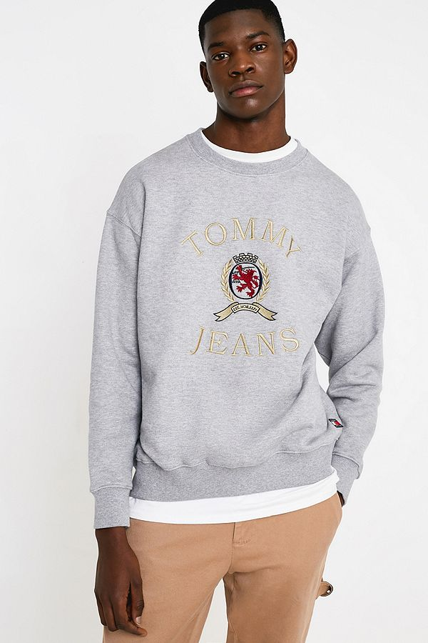 3618037b Slide View: 1: Tommy Jeans Crest Collection Flag Grey Crew Neck Sweatshirt